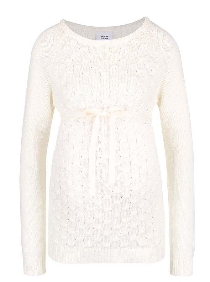 Krémový tehotenský sveter s mašličkou Mama.licious Crysta