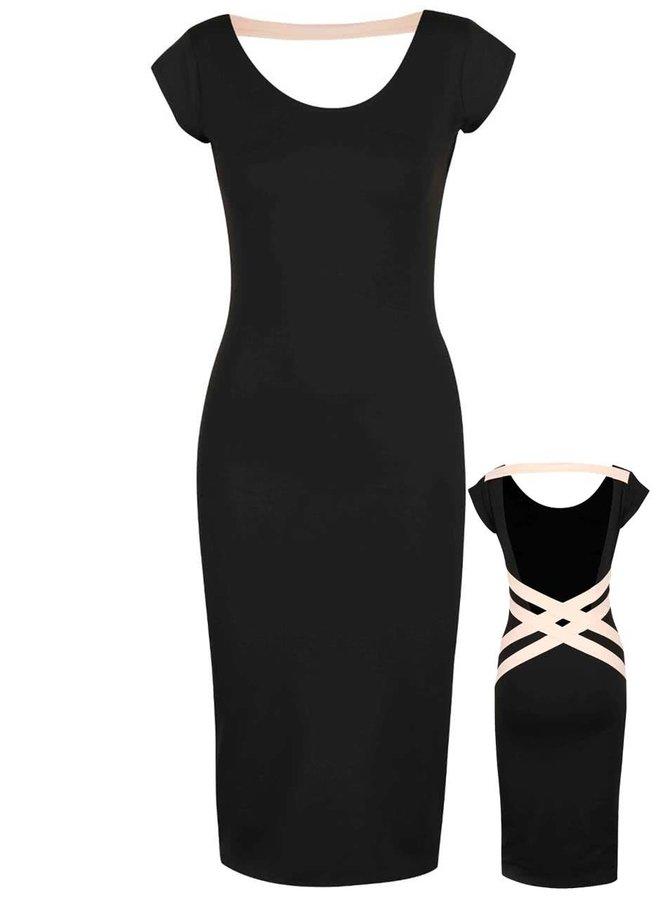 Meruňkovo-černé elastické šaty s odhalenými zády Quontum