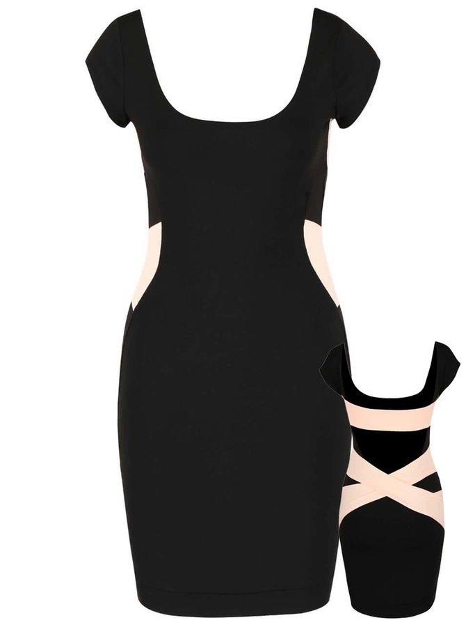 Meruňkovo-černé elastické šaty s volnými zády a ozdobnými pásy Quontum