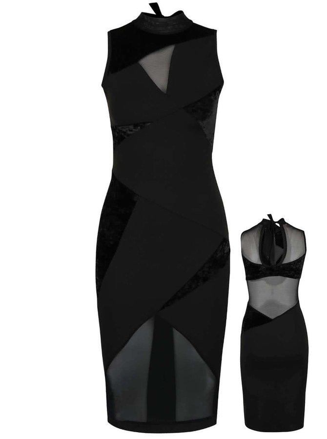 Černé šaty s průhlednými  a sametovými detaily Quontum