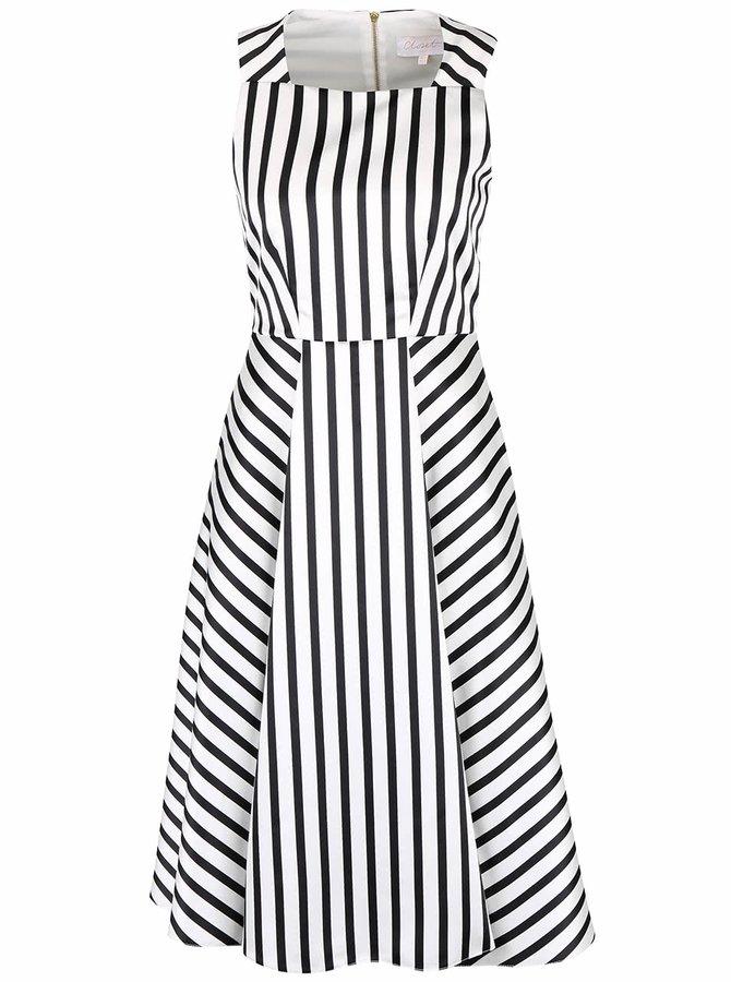 Čierno-krémové pruhované šaty Closet