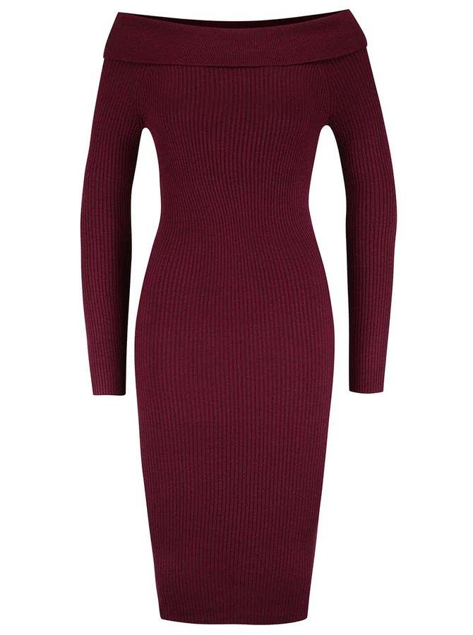 Vínové šaty s lodičkovým výstřihem Miss Selfridge