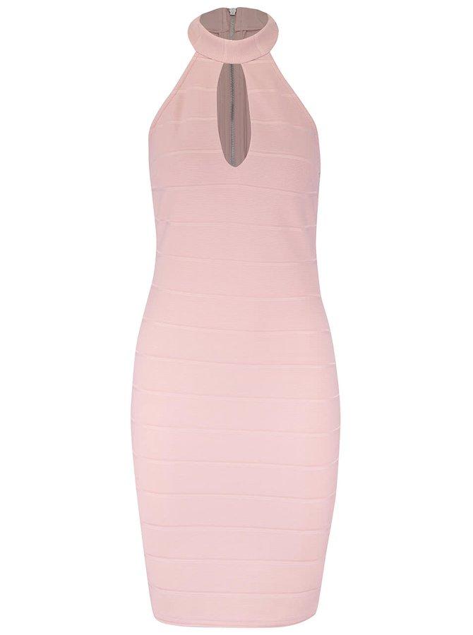 Světle růžové strečové šaty Miss Selfridge