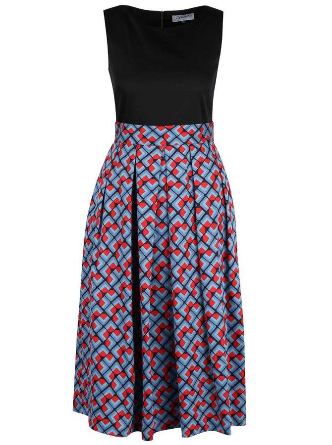 Černo-modré midi šaty se vzorovanou sukní Closet