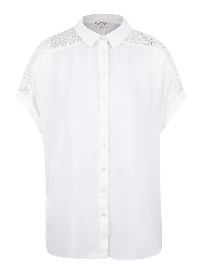 Krémová košile s krajkou na rukávech Miss Selfridge