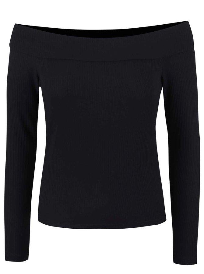 Čierny kratší top s odhalenými ramenami Miss Selfridge