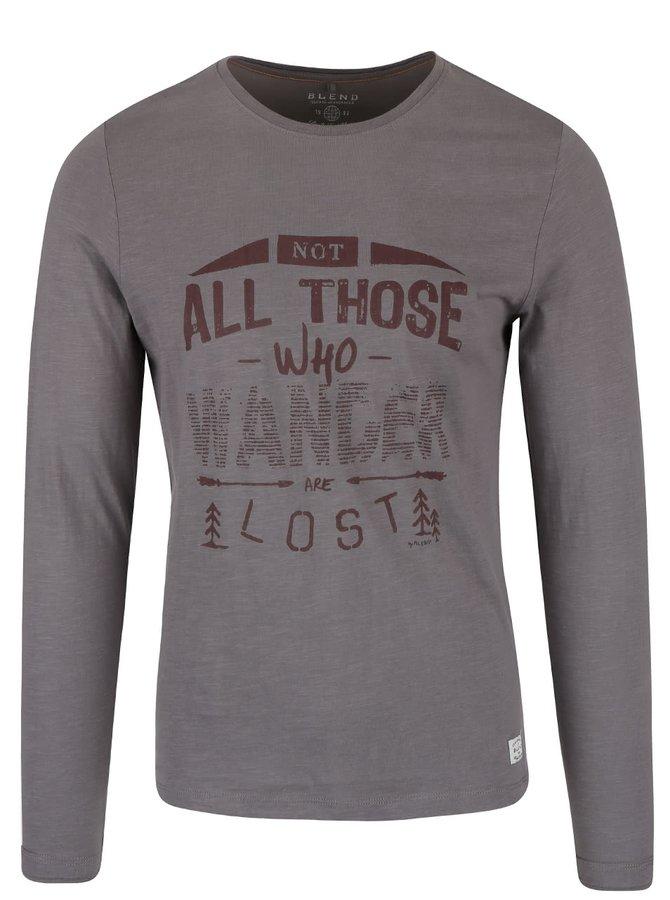 Hnedo-sivé tričko s potlačou a dlhým rukávom Blend