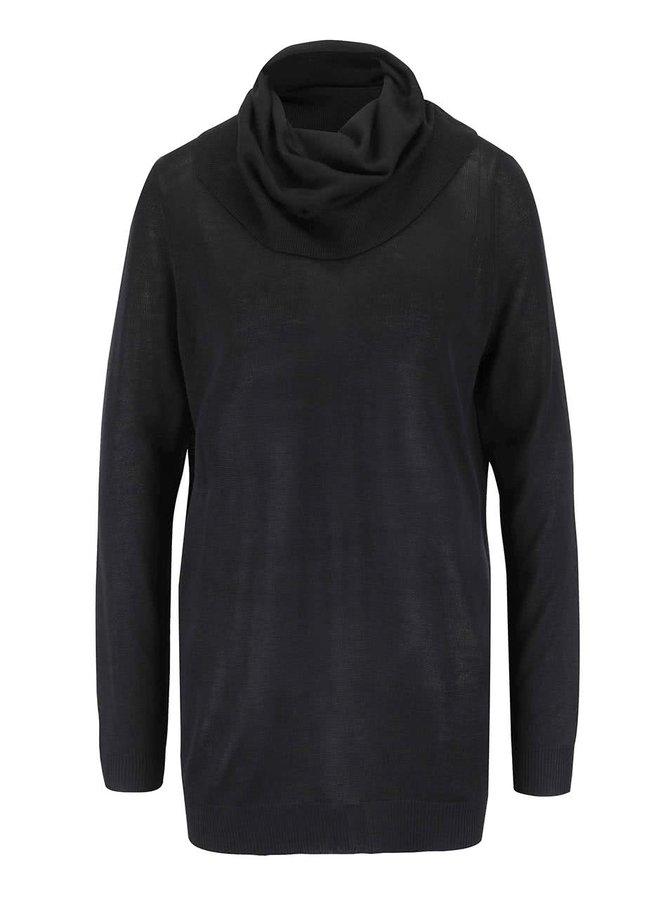 Čierna úpletová tunika s dlhým rukávom VILA Obi