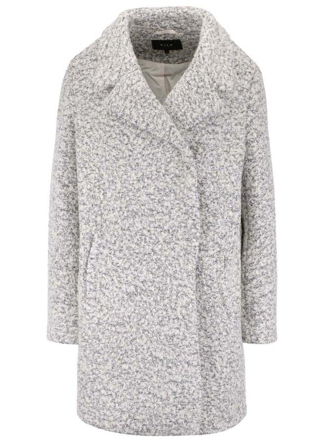 Krémovo-sivý melírovaný kabát VILA Winter