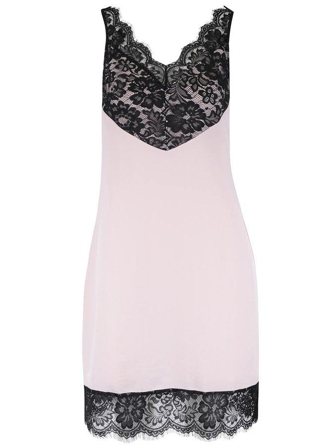 Krémové šaty s čiernou čipkou Miss Selfridge