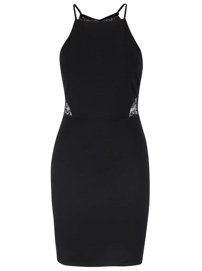 Čierne šaty s čipkou na chrbte Miss Selfridge