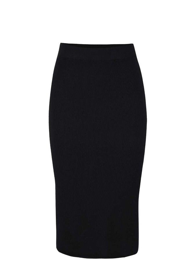 Čierna rebrovaná midi sukňa s rozparkom Vero Moda Glory