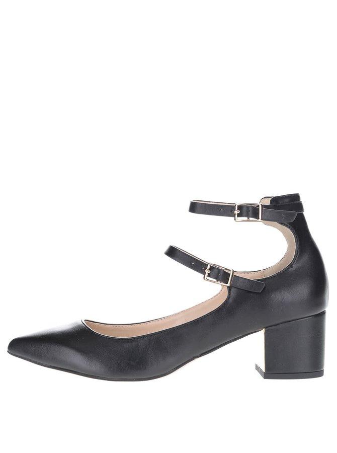 Černé boty na podpatku s pásky Miss Selfridge