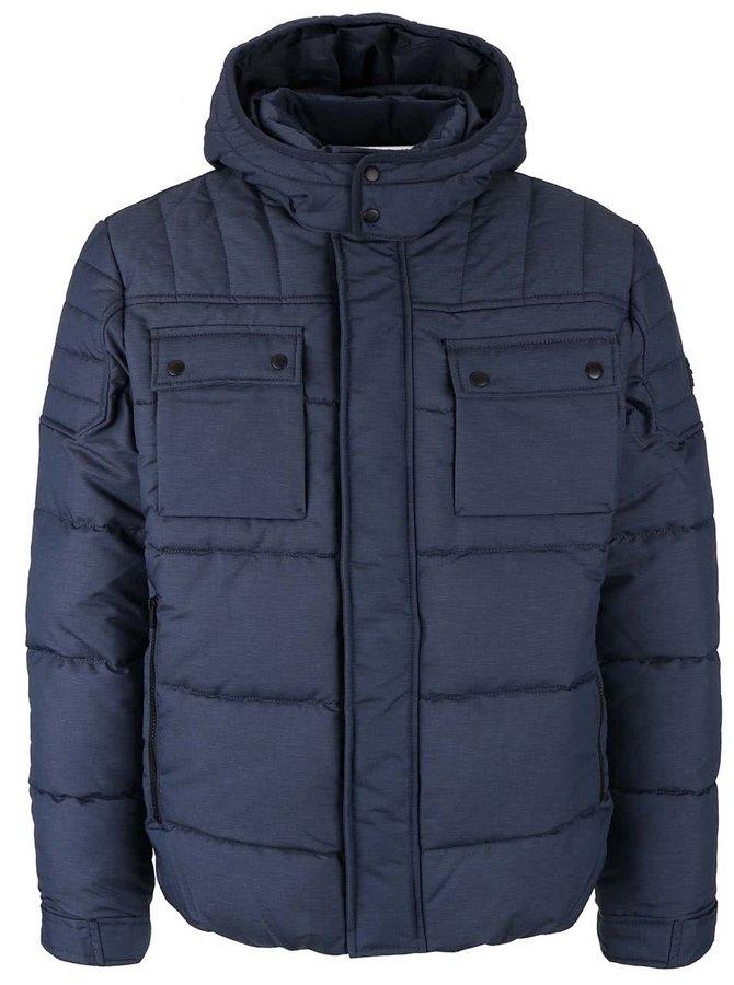 Tmavomodrá prešívaná zimná bunda s kapucňou Jack & Jones Ocam