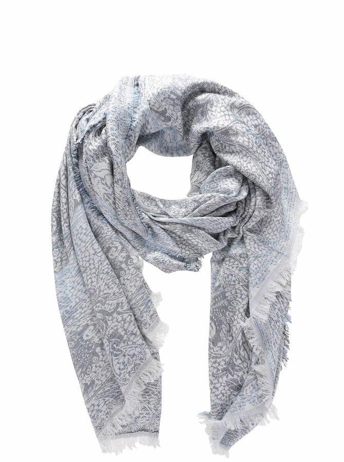 Krémovo-modrý vzorovaný šátek Vero Moda Jia