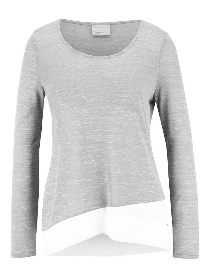 Svetlosivý melírovaný tenký sveter Vero Moda Babay