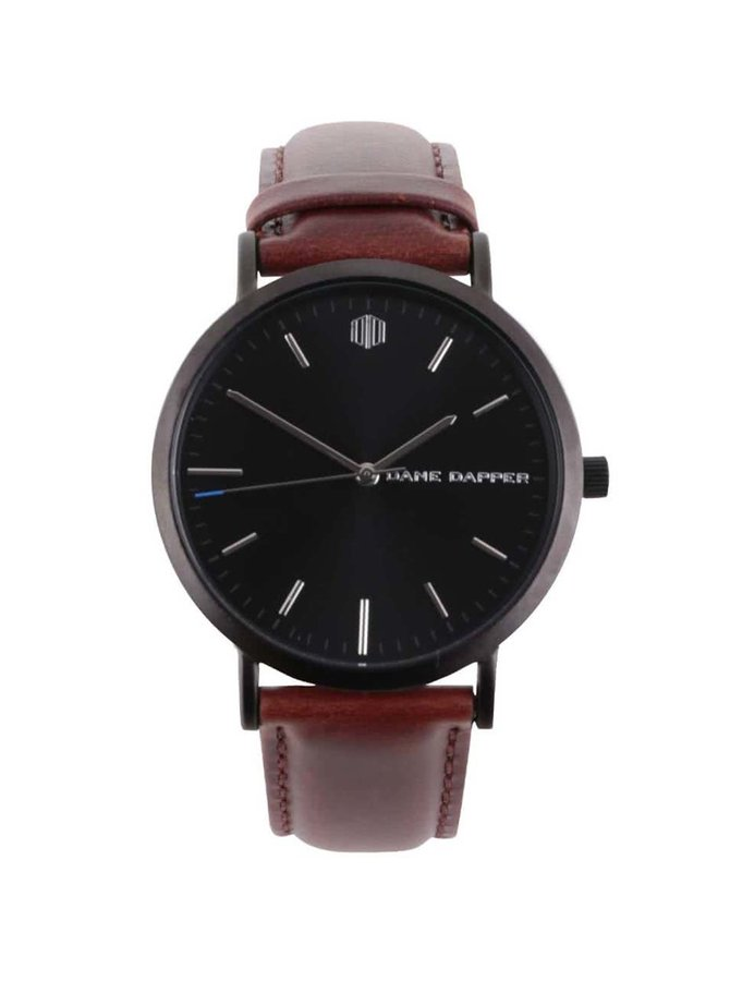 Černé pánské hodinky s koženým páskem Lucleon Lucas
