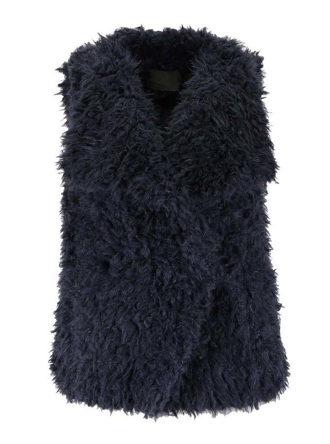 Tmavě modrá vesta s kožíškem VERO MODA Jayla