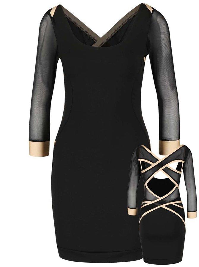 Čierne elastické šaty s ozdobnými sieťovanými pruhmi cez chrbát Quontum