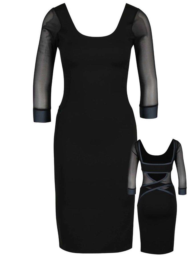 Šedo-černé elastické šaty s ozdobnými pásy přes záda Quontum