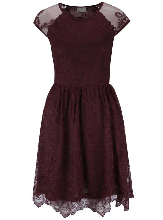 Vínovohnedé čipkované šaty VERO MODA Maggi