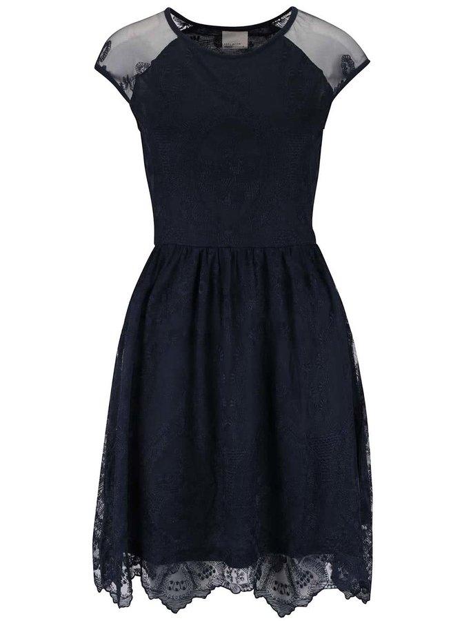 Tmavomodré čipkované šaty VERO MODA Maggi