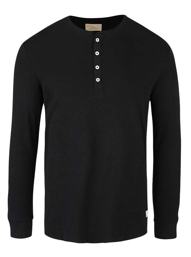 Čierne tričko s dlhými rukávmi Selected Homme Hiconic