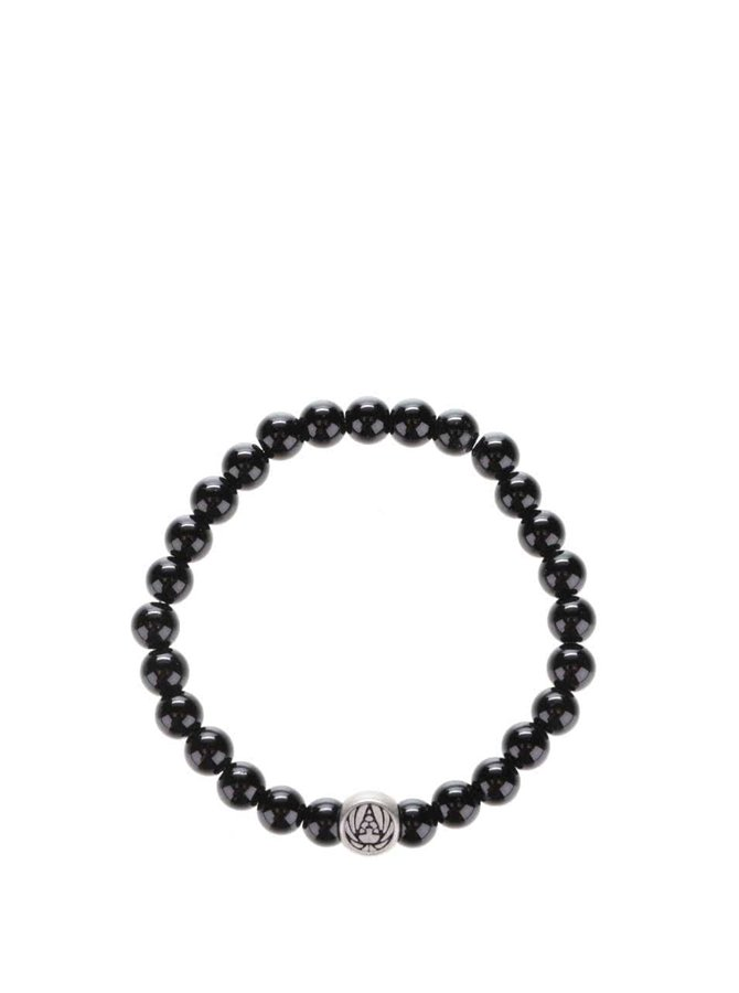 Černý pánský korálkový náramek Lucleon Leon