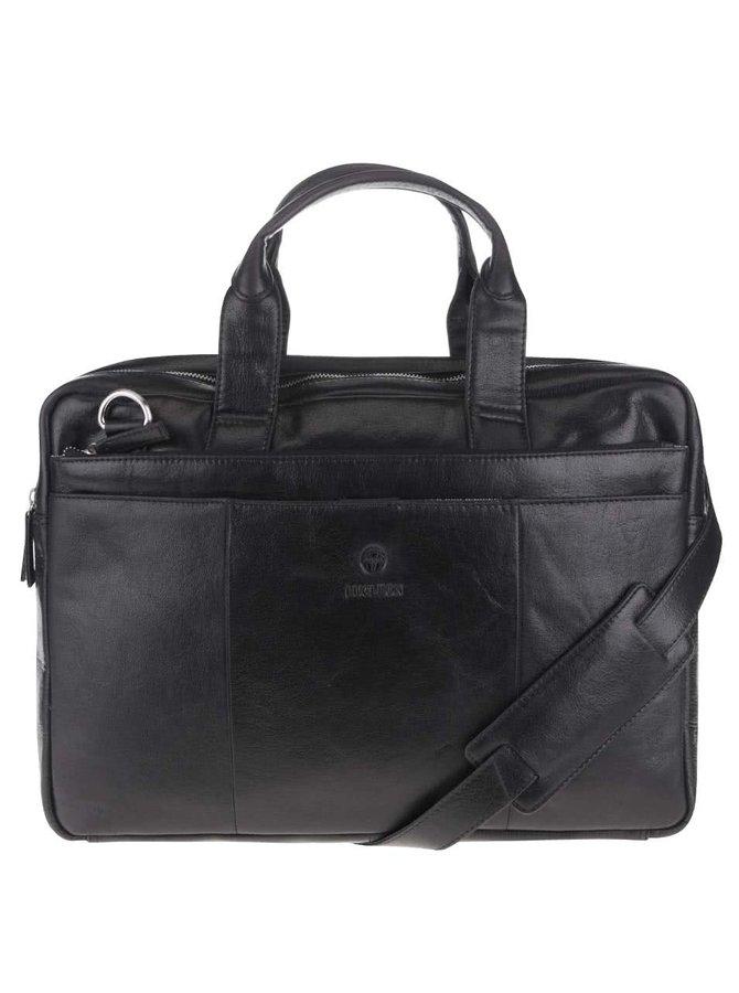 Černá pánská kožená taška na notebook Lucleon California