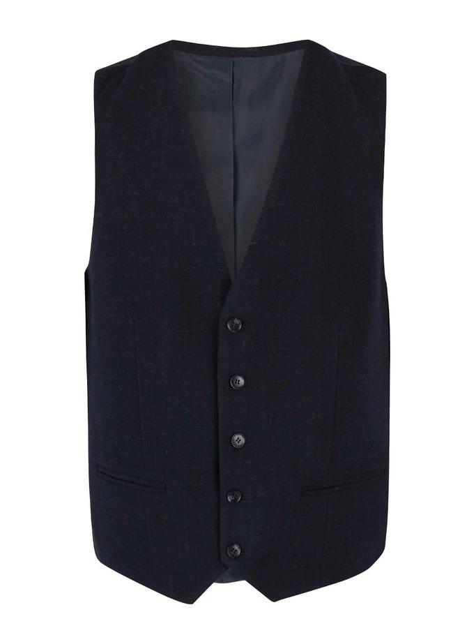 Tmavomodrá melírovaná formálna vesta Selected Homme Don Alex