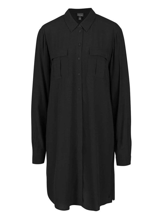 Rochie cămașă neagră Bench cu mâneci lungi