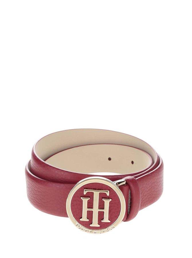 Červený dámsky kožený opasok s okrúhlou prackou Tommy Hilfiger