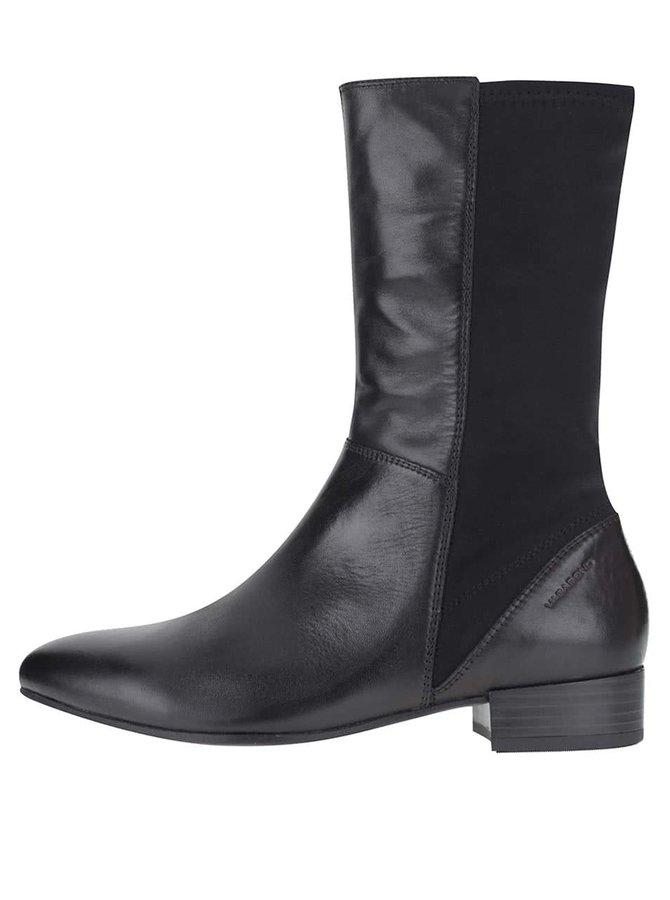 Čierne dámske kožené vyššie členkové topánky Vagabond Gigi