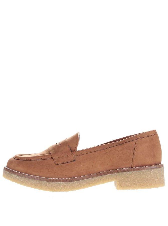 Pantofi loafer maro OJJU Rick din piele întoarsă