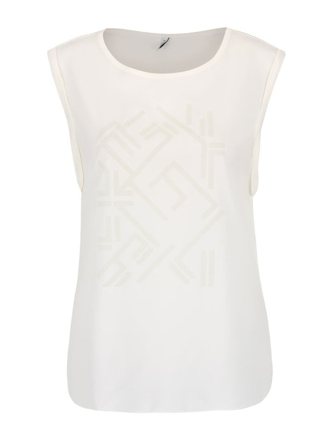 Krémové tričko bez rukávov s trblietavou potlačou ONLY Mynte