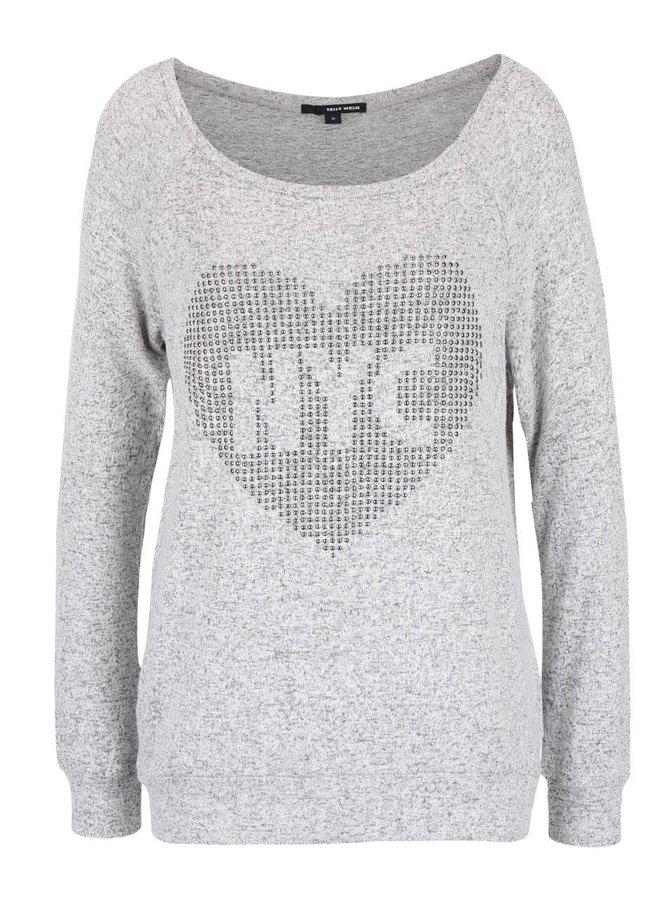 Šedé žíhané tričko s aplikací ve stříbrné barvě TALLY WEiJL Catdog