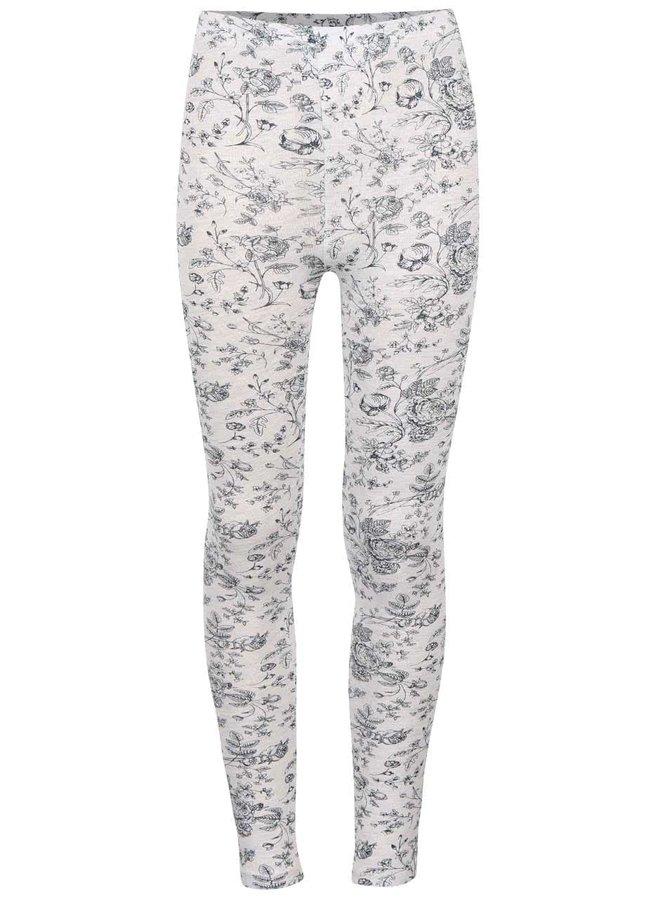 Krémové holčičí legíny s šedým květovaným motivem 5.10.15.