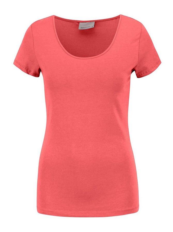 Ružovočervené tričko s krátkym rukávom Vero Moda Maxi My