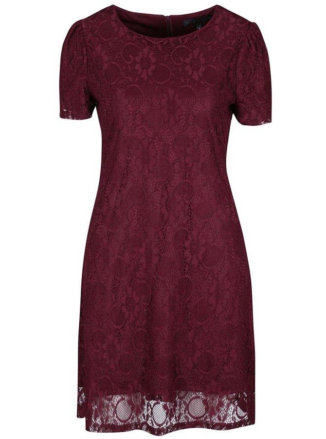 Vínové krajkové šaty Mela London