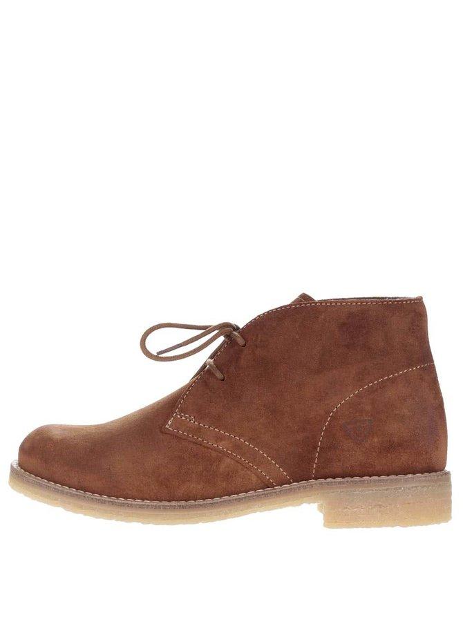 Hnědé semišové kotníkové boty Tamaris