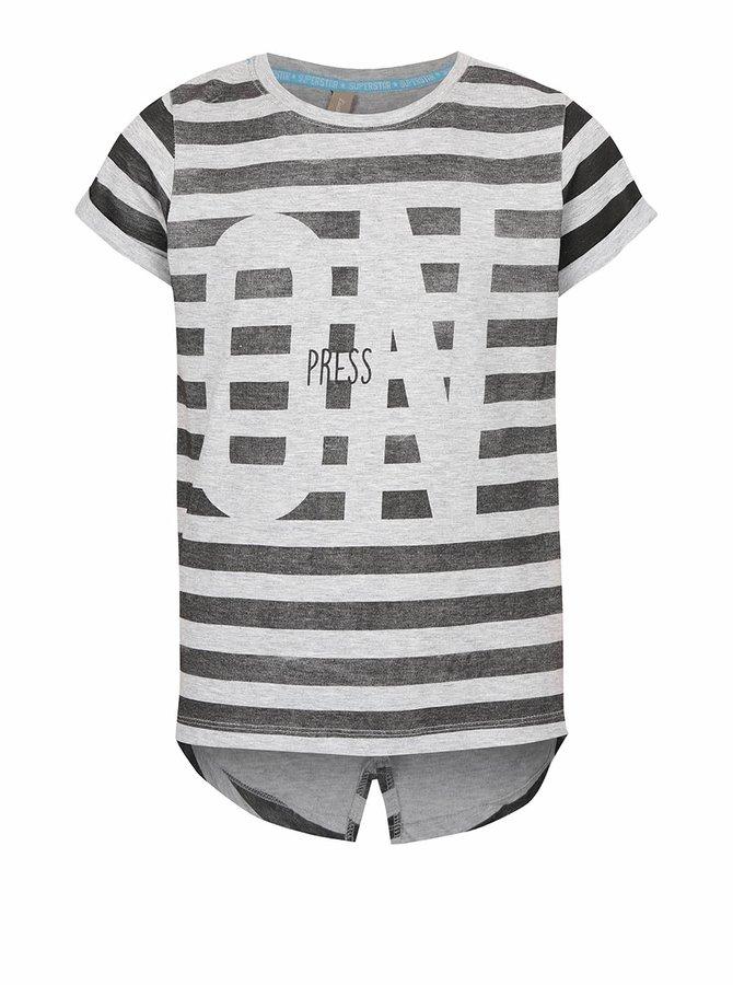 Sivé melírované dievčenské pruhované tričko s nápisom 5.10.15.