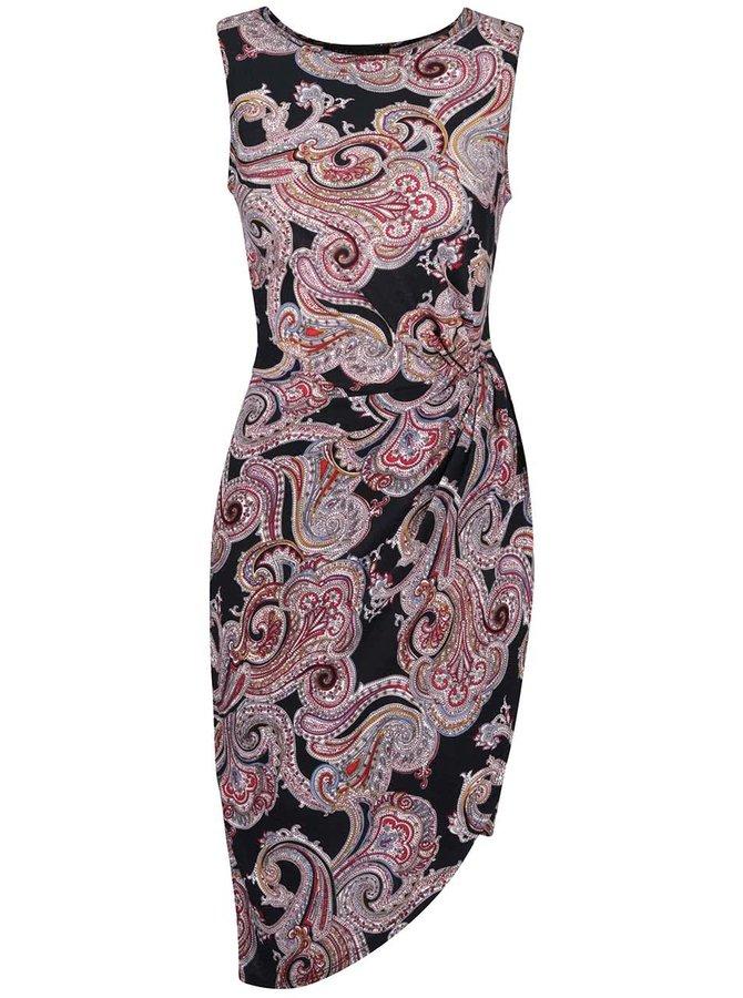Černé asymetrické šaty s barevným vzorem Mela London