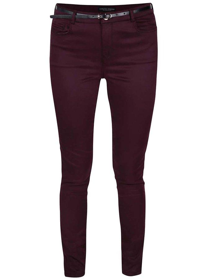 Vínové skinny džíny s páskem Dorothy Perkins