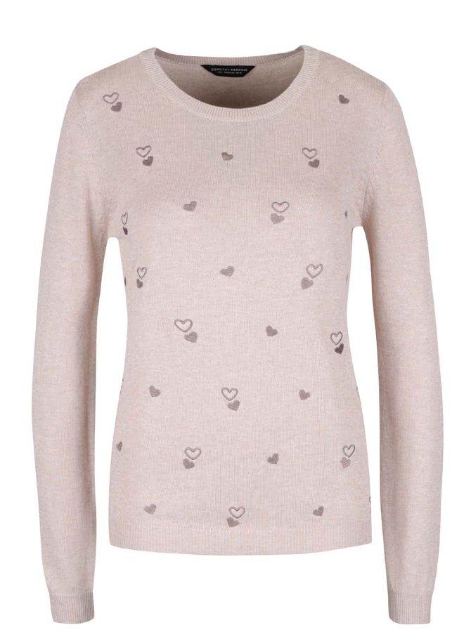 Béžovo-hnedý sveter s vyšitými srdiečkami Dorothy Perkins