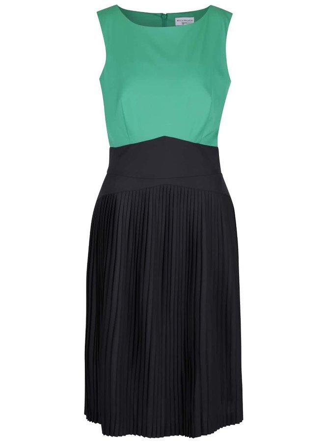 Zeleno-černé šaty s plisovanou sukní Wolf & Whistle