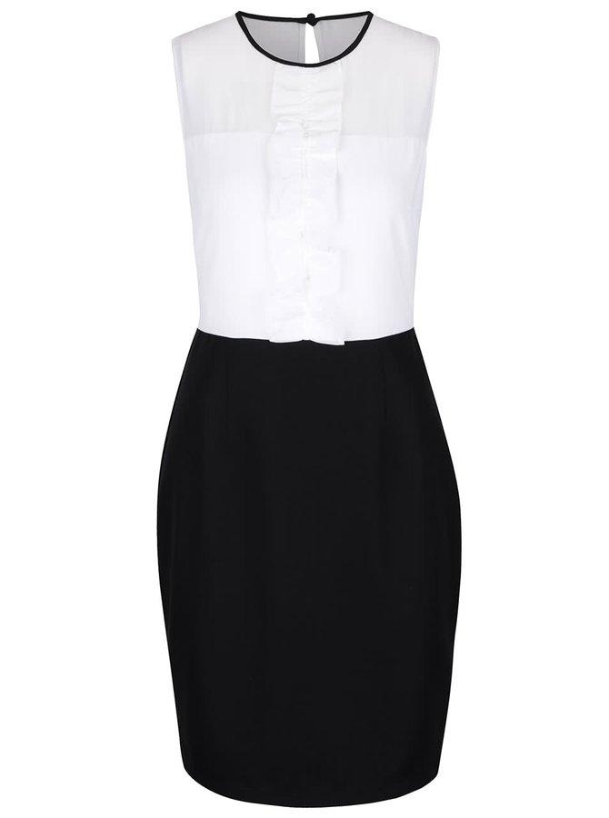 Bílo-černé pouzdrové šaty s volánkem Dorothy Perkins
