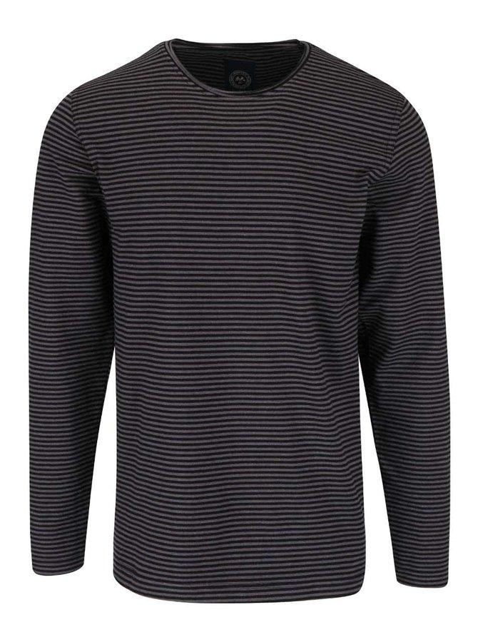 Sivo-čierne pruhované tričko s dlhým rukávom Lindbergh