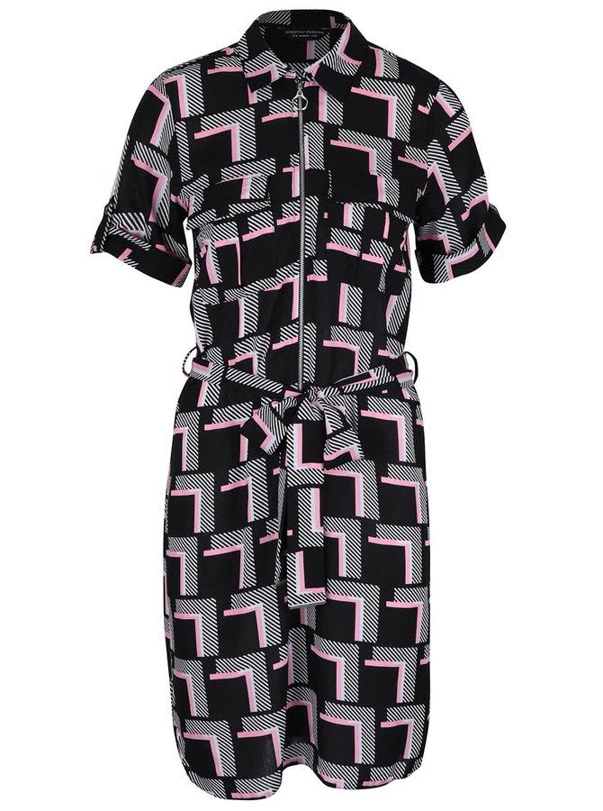 Růžovo-bílo-černé vzorované šaty s kapsami Dorothy Perkins