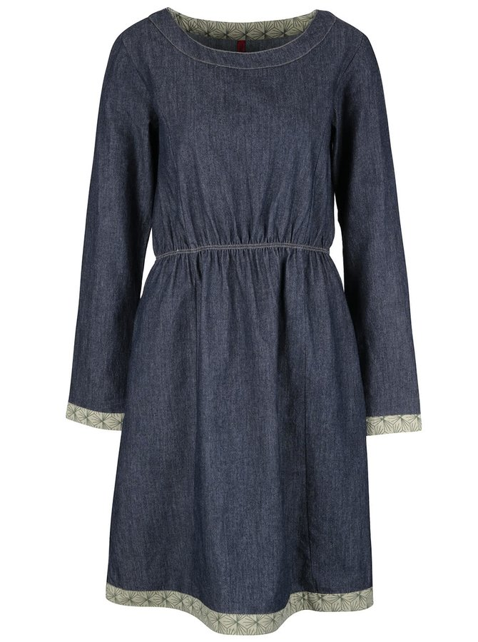 Modré rifľové šaty s dlhým rukávom a zeleným lemom Tranquillo Magni