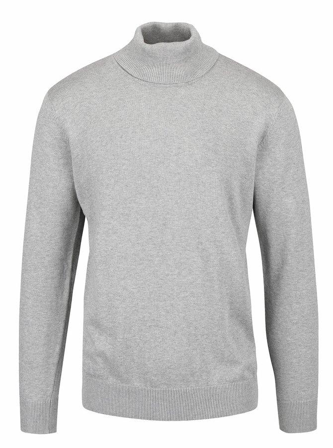 Svetlosivý melírovaný sveter s rolákom Shine Original